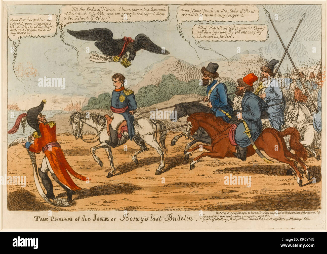 Satirical cartoon, The Cream of the Joke or Boney's last Bulletin.  Napoleon, a prisoner, rides on his famous - Stock Image