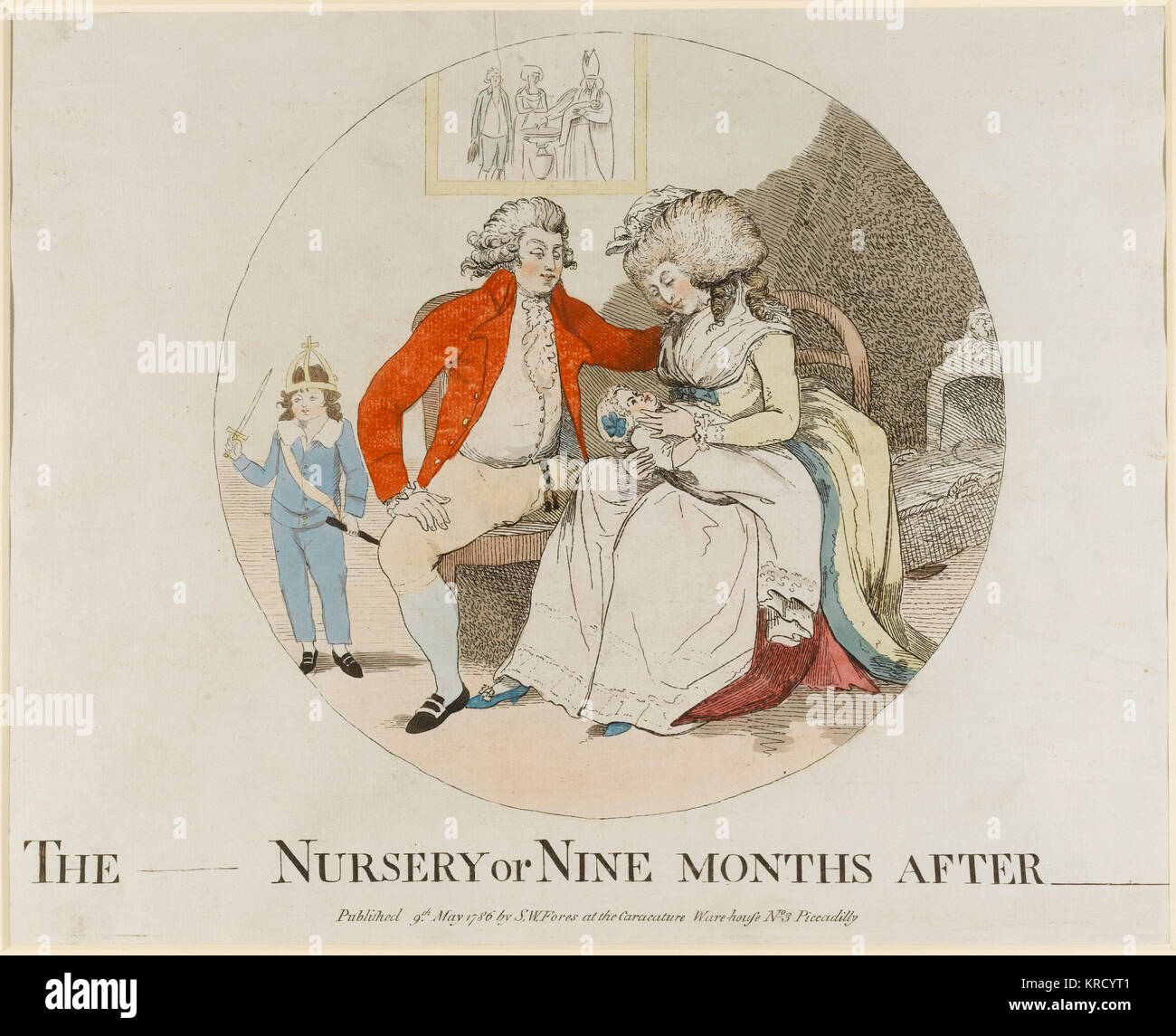Satirical cartoon, The _____ Nursery or Nine Months after _____.  The print visualises a predictable next stage - Stock Image