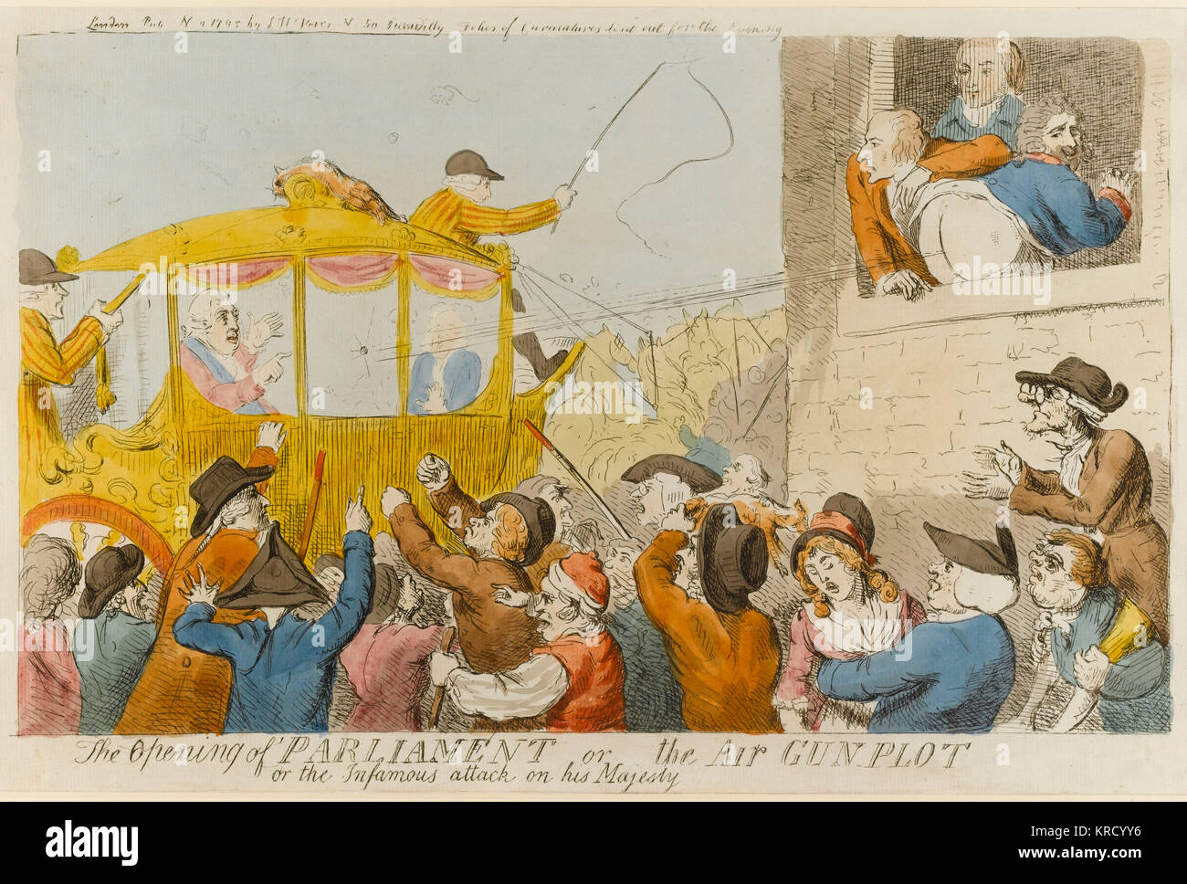 Cartoon, The opening of Parliament or the air gun plot or the infamous attack on his Majesty.  This print recalls - Stock Image
