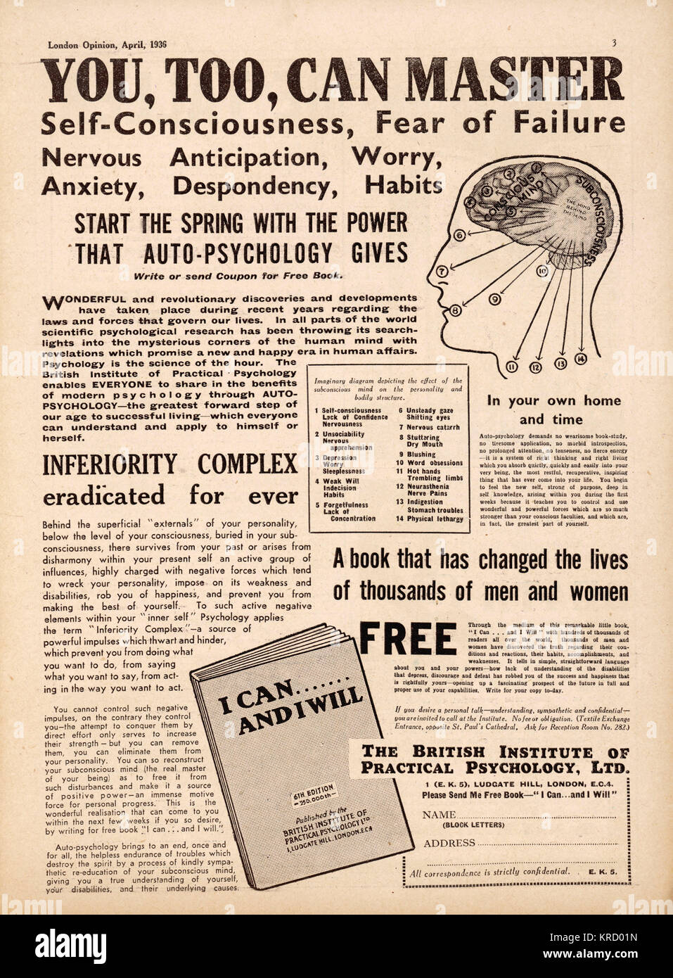 Advert for a booklet issued by  the British Institute of  Practical Psychology called 'I  can and I will' - Stock Image