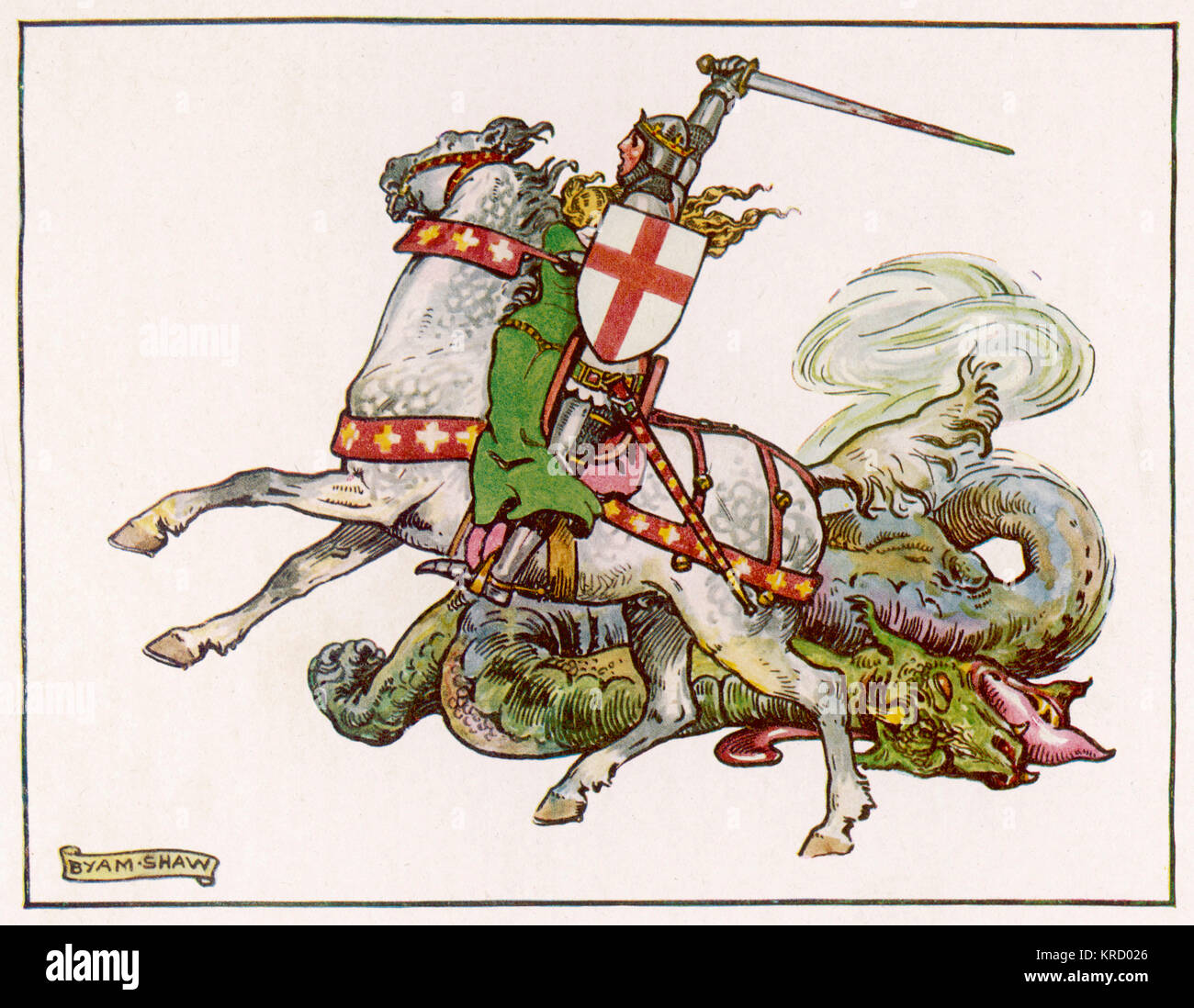 SAINT GEORGE 'What Every Johnnie Bull  Knows' drawn by Byam Shaw  depicting a rather vicious  looking St. - Stock Image
