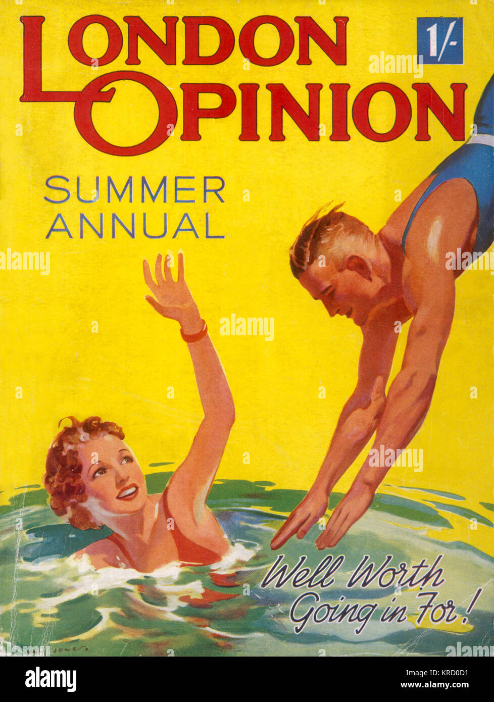 Bright and jolly front cover  showing a female swimmer  waving to her friend who  decides to dive into the pool - Stock Image