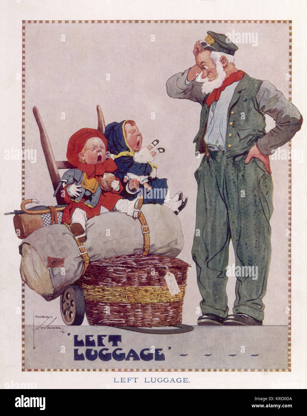 Oh, Mr Porter, what shall we do?   Mummy's off to Birmingham  And left us in Crewe  Bundled in a barrow,  Crying - Stock Image