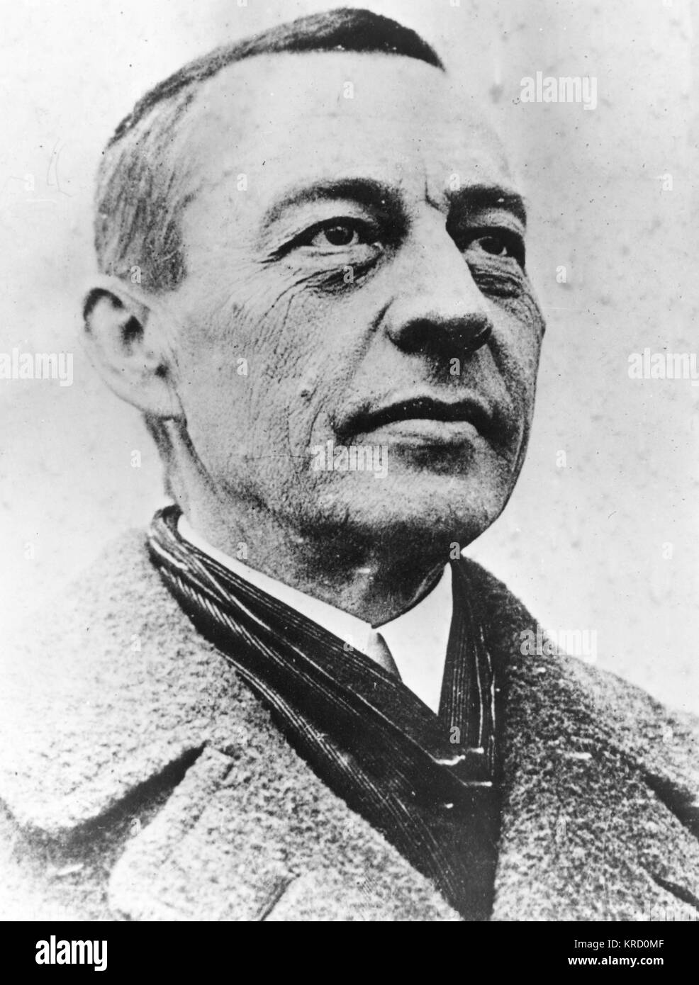 Sergei Vasilievich Rachmaninov, Russian composer, pianist and conductor.       Date: 1873 - 1943 - Stock Image