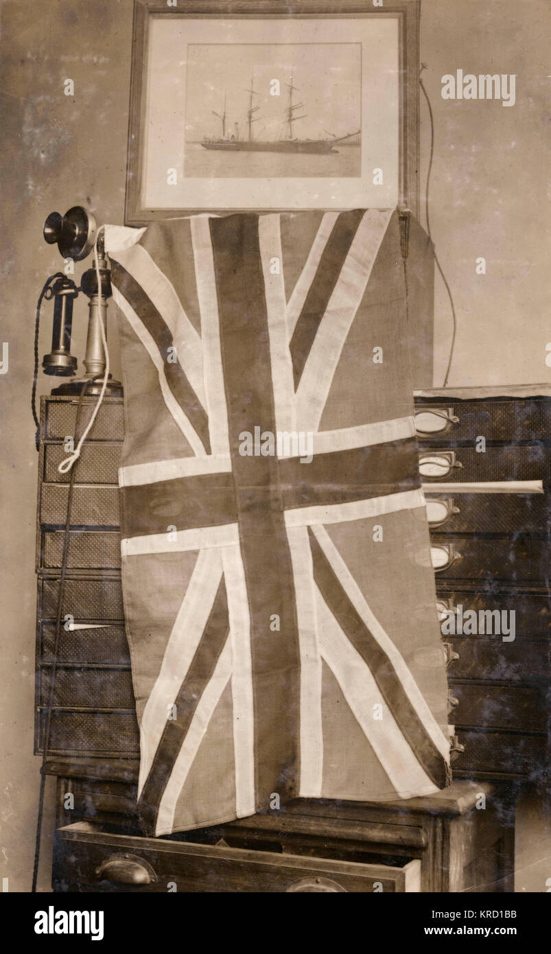 The flag presented by Queen Alexandra to Captain Scott on 25 June 1910, to be carried on the South Pole Terra Nova - Stock Image