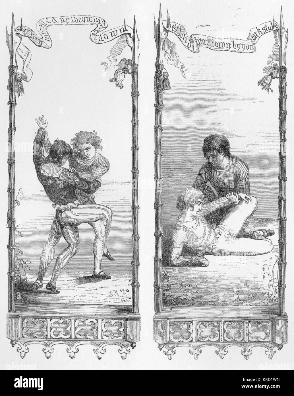 THE TWA BROTHERS.  Popular British Ballad.  Two brothers are wrestling when a blade that one of them is carrying - Stock Image