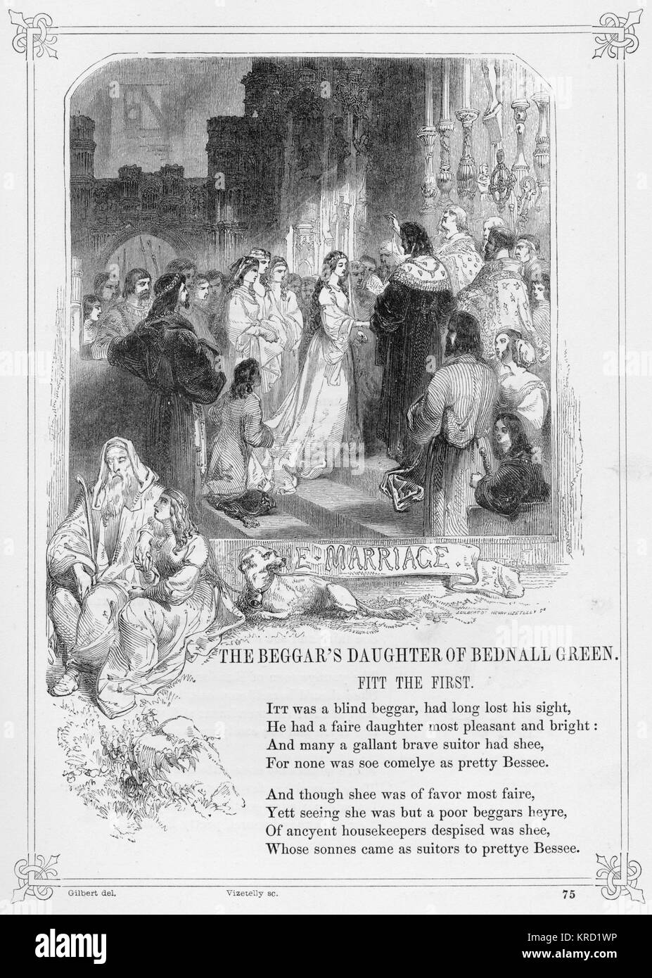 THE (BLIND) BEGGARS DAUGHTER OF BEDNAL GREEN (BETHNAL GREEN)  Popular British Ballad, obtained and expanded by Thomas - Stock Image