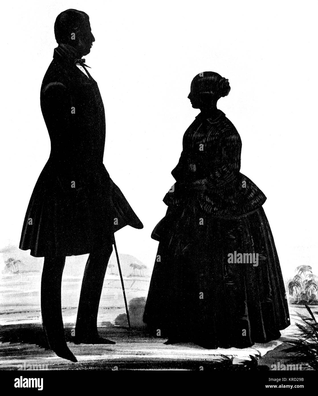 A silhouette portrait of Queen Victoria with her Prime Minister, Lord Melbourne, probably cut by Atkinson of Windsor - Stock Image