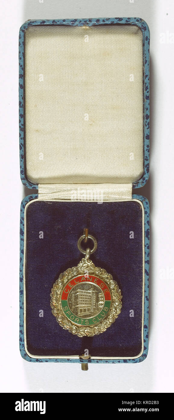 Medal of the Celanese Sports Club, an occupational club run by the employees of the British Celanese chemical company - Stock Image