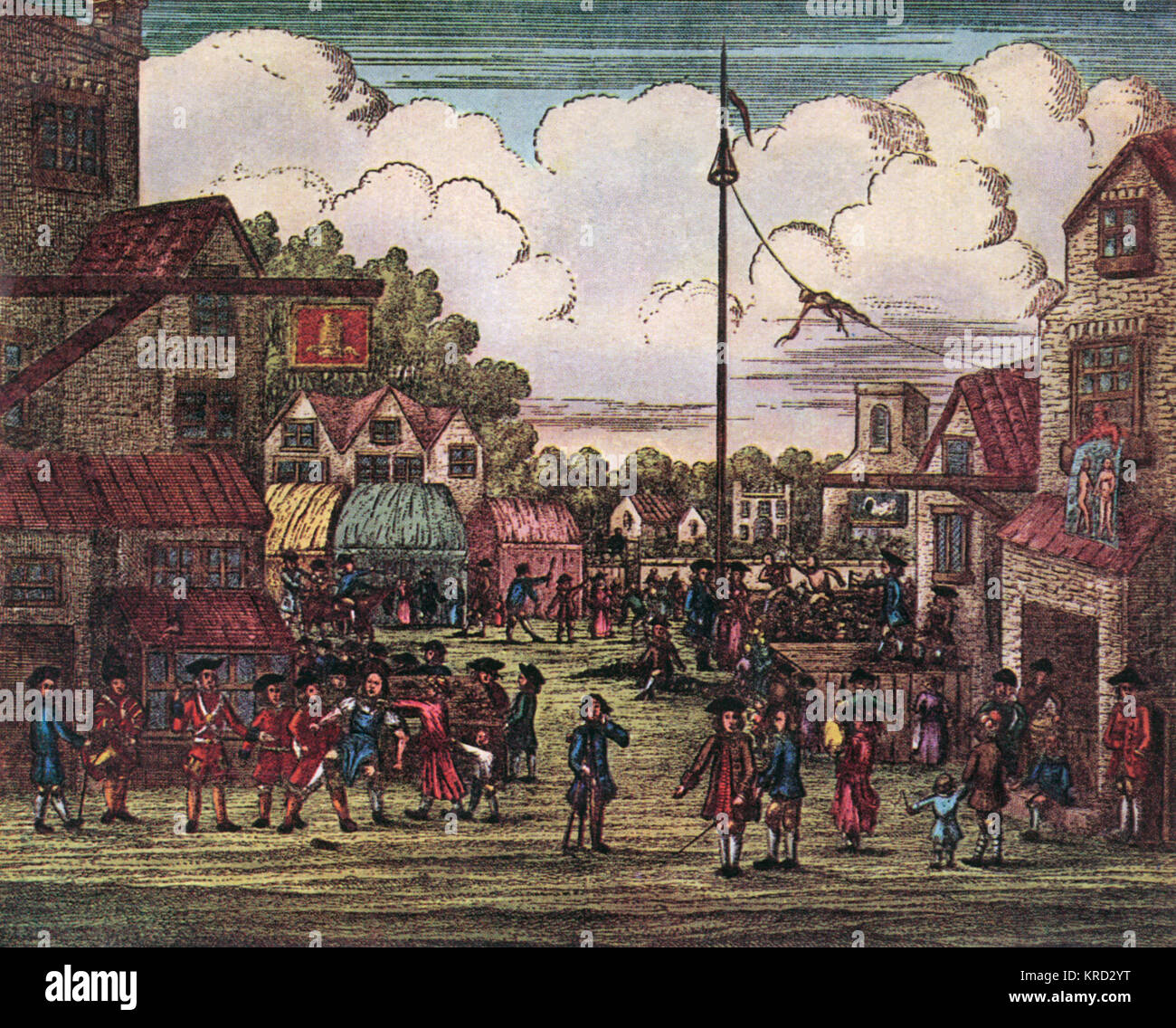 A decidedly rural looking Mayfair, now the most prestigious and expensive area of London, pictured in 1716.     - Stock Image