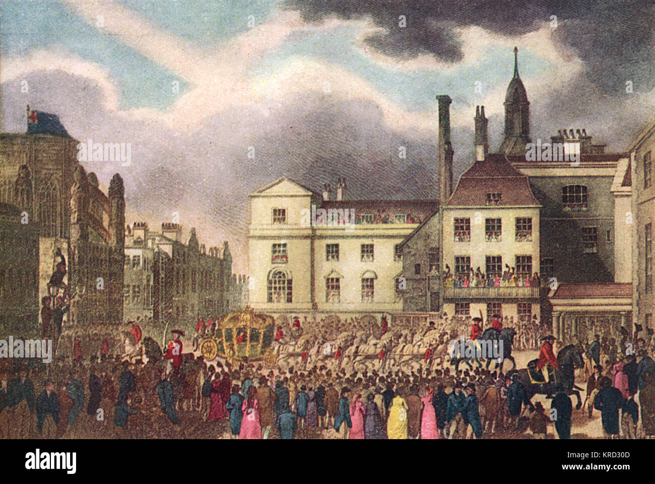 The Houses of Parliament, pictured in 1804 with crowds assembled to watch the Royal Procession.       Date: 1804 - Stock Image