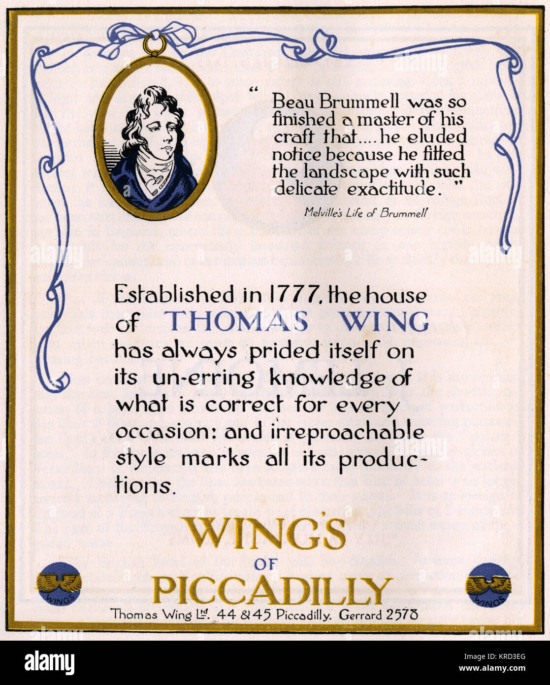 Advertisement for Thomas Wing of Piccadilly, hosiers and catering to gentlemen since 17777.  Advert features a likeness - Stock Image