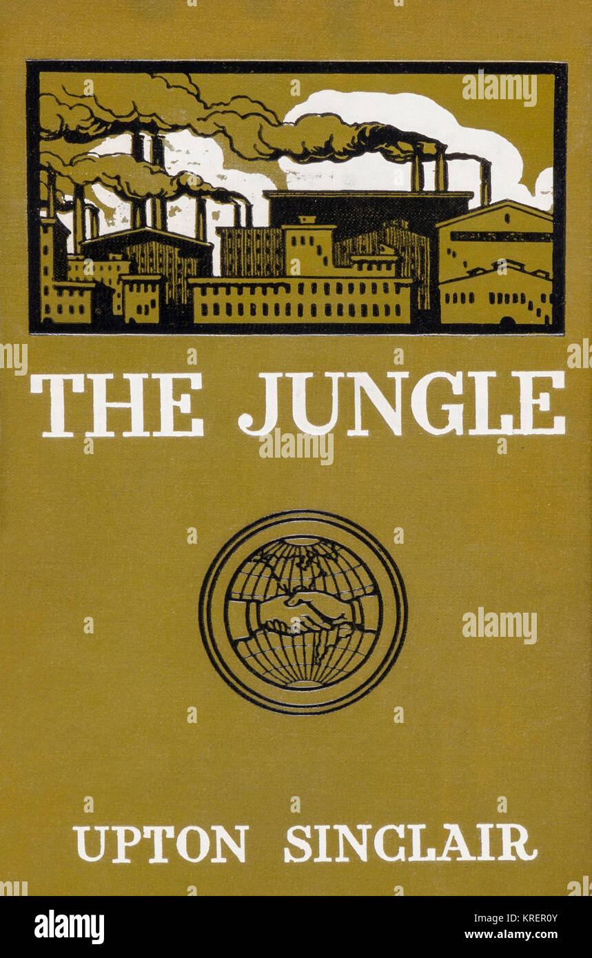 'The Jungle by Upton Sinclair -- a powerful expose on conditions in the Chicago meat-packing industry -- was - Stock Image