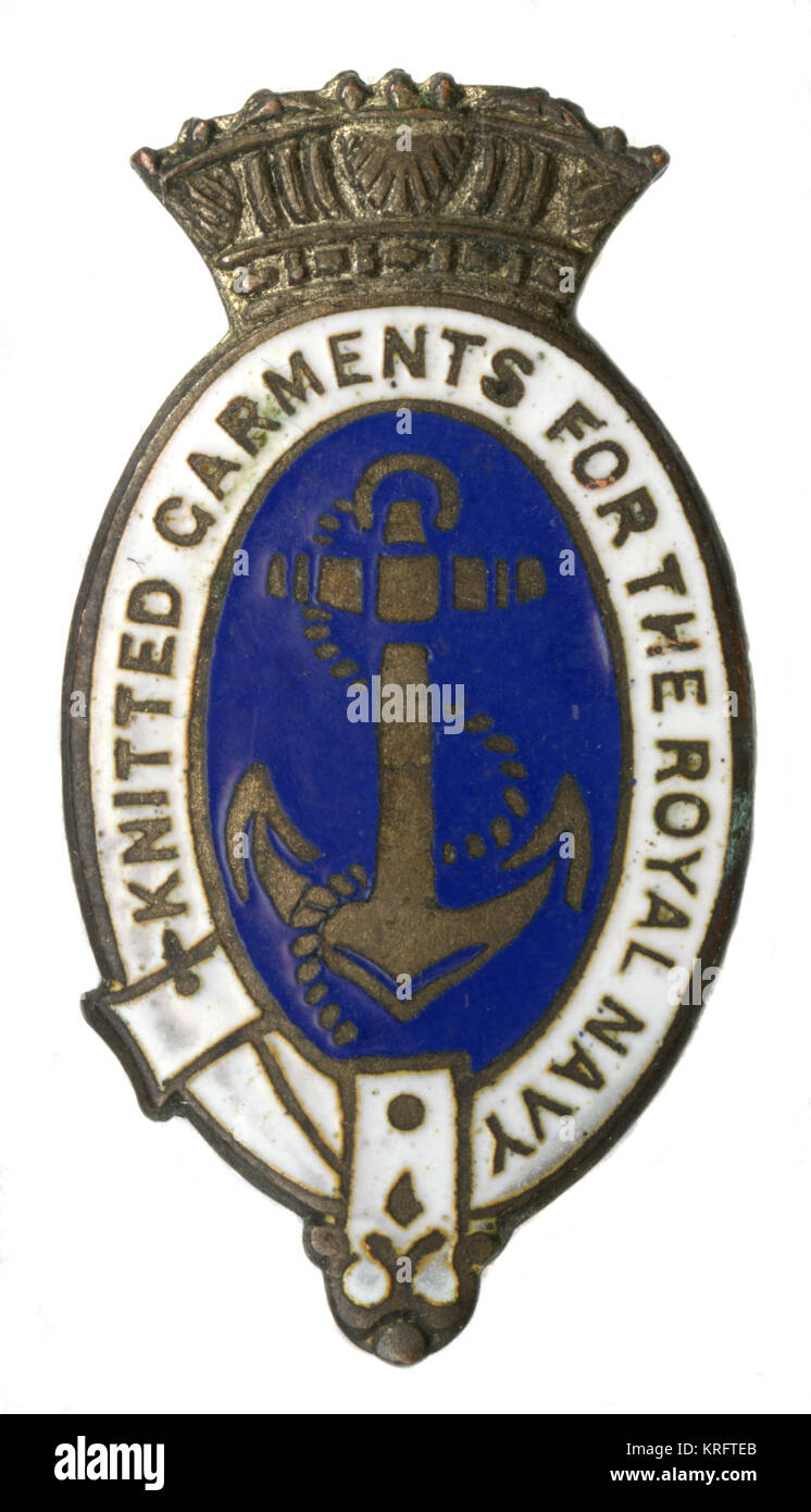 A badge from the First World War period recognising those who knitted comforts for men of the Royal Navy.     Date: - Stock Image