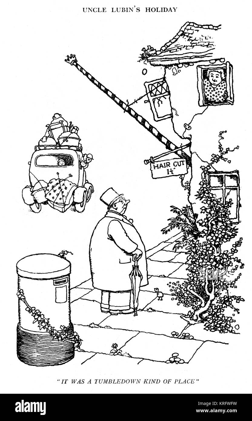 Uncle Lubin's Holiday, illustration by William Heath Robinson (1940s, unfinished) -- It was a tumbledown kind - Stock Image