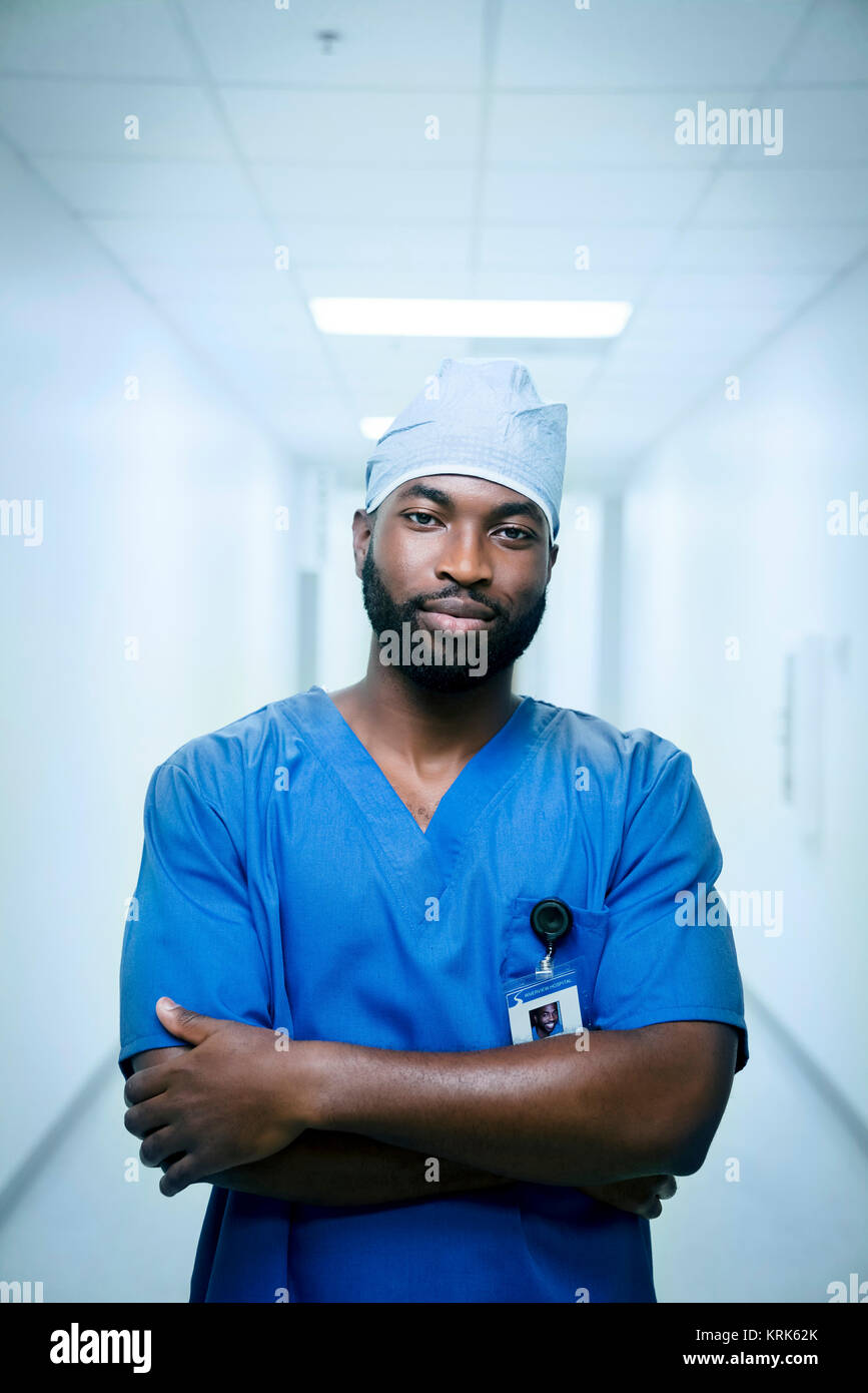 Portrait of serious black nurse - Stock Image