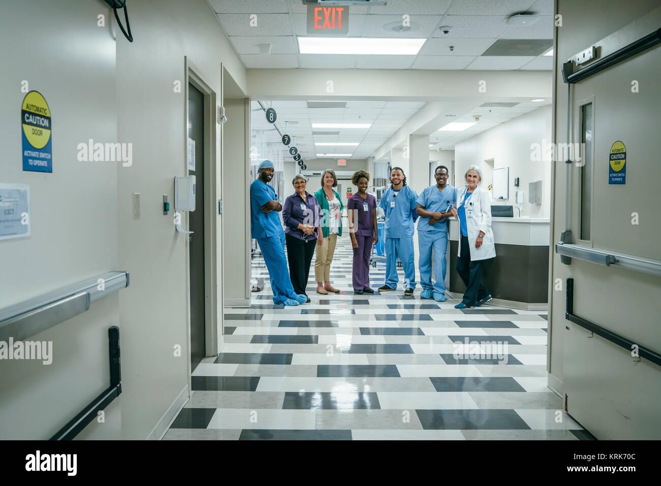 Portrait of medical team in hospital - Stock Image