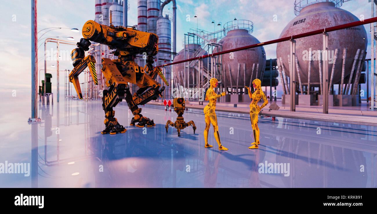 Women robots talking in futuristic city - Stock Image