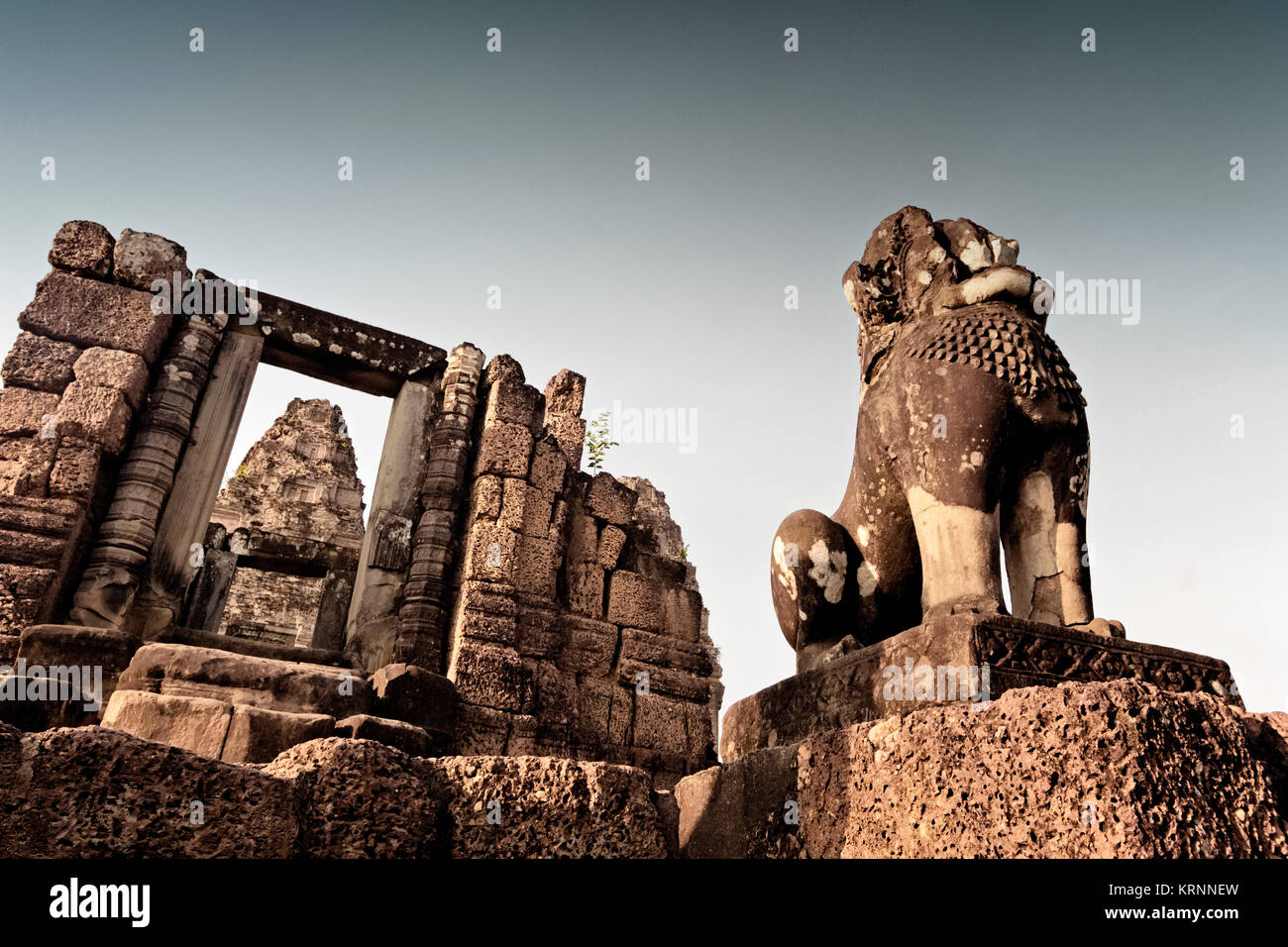 Lion at East Mebon, Angkor Wat , Siem Reap, Cambodia, Asia, - Stock Image