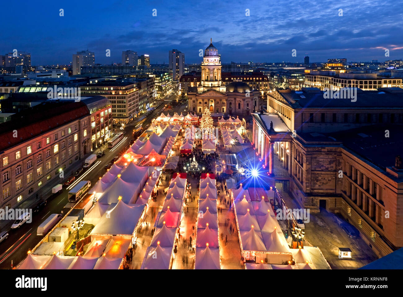 Berlin gendarme market, christmas market, , view from french dome | - Stock Image