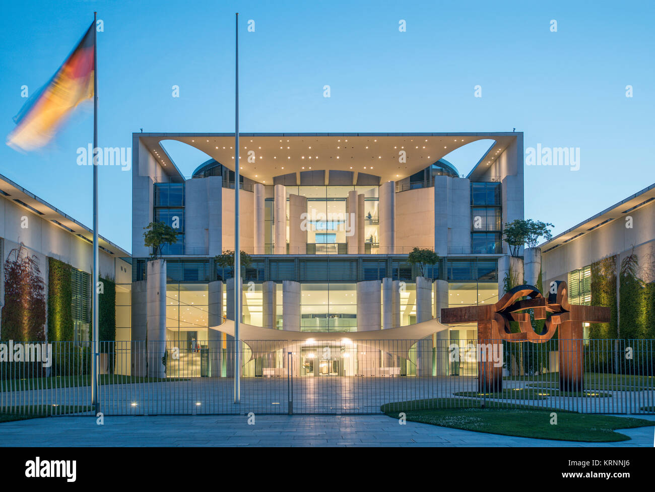 Chancellery in twilight,  Berlin , Tiergarten - Stock Image