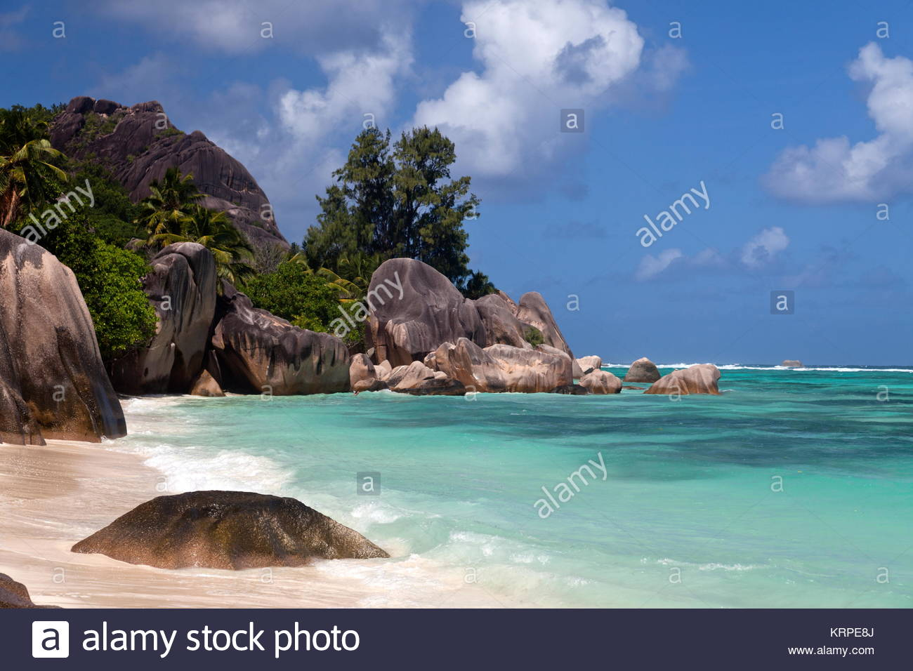 Anse Source D'Argent,  La Digue, Seychelles, Indian Ocean, Africa - Stock Image