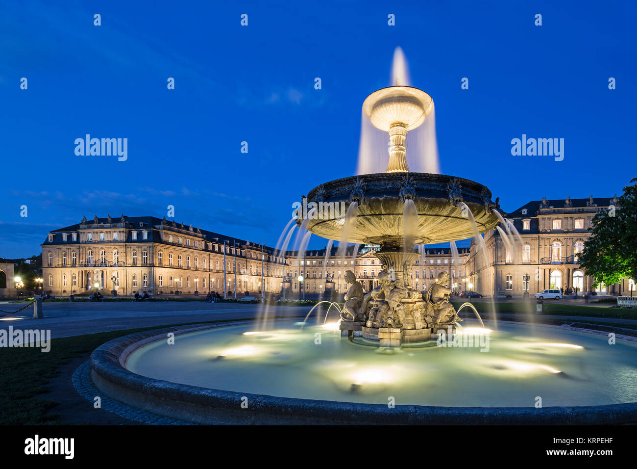 Castle Square with fountain, New Castle, Stuttgart, Baden-Wuertemberg, Germany - Stock Image