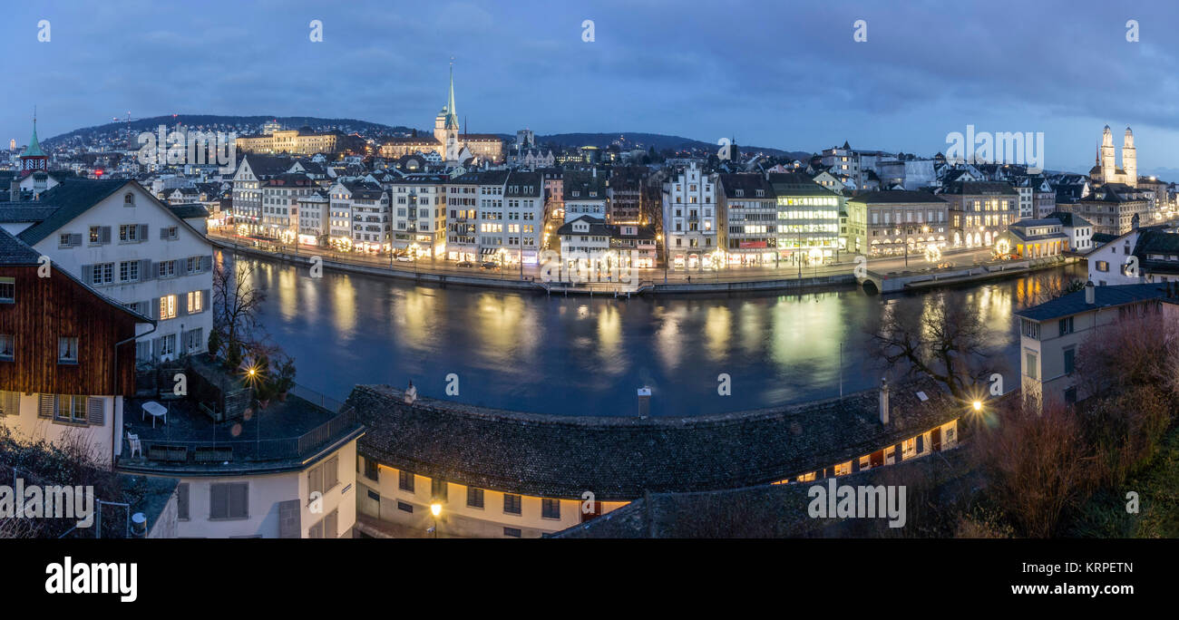 Panorama from Lindenhof,  River Limmat, Grossmunster, Zurich, Switzerland - Stock Image
