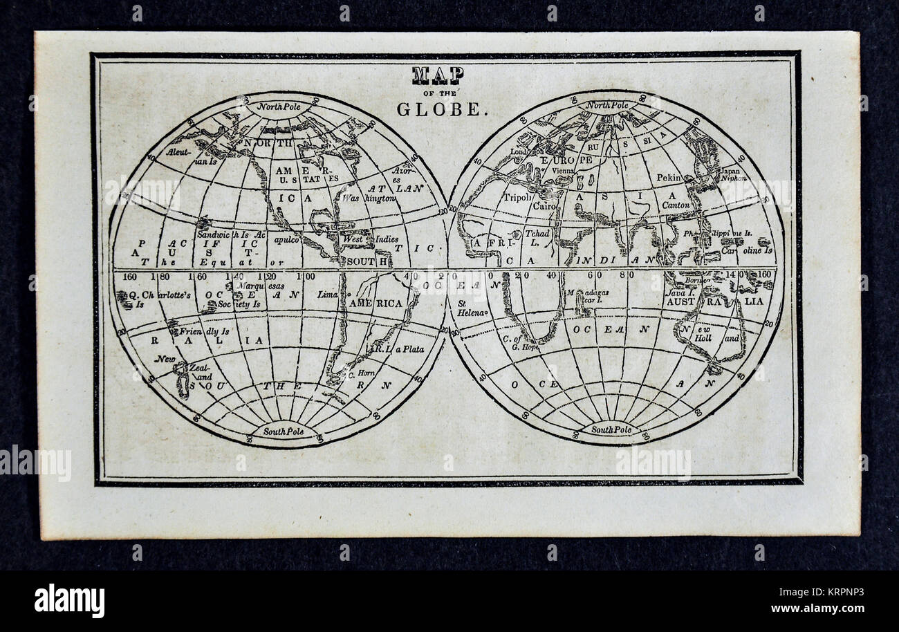 1830 Nathan Hale Map of the Globe - The World in Hemispheres - Europe Africa Asia Australia North and South America - Stock Image