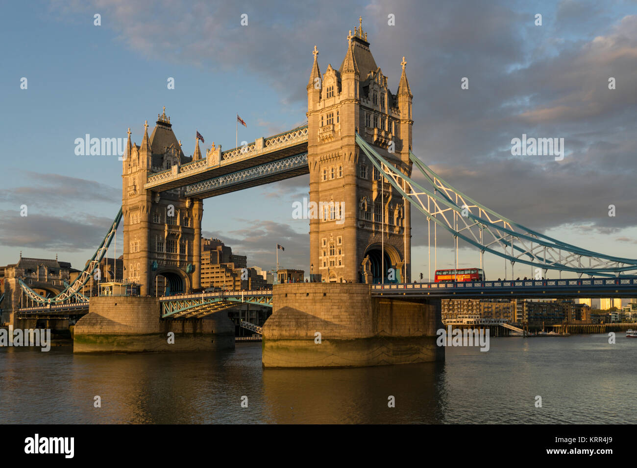 Tower Bridge at sunset, River Thames, London, UK - Stock Image
