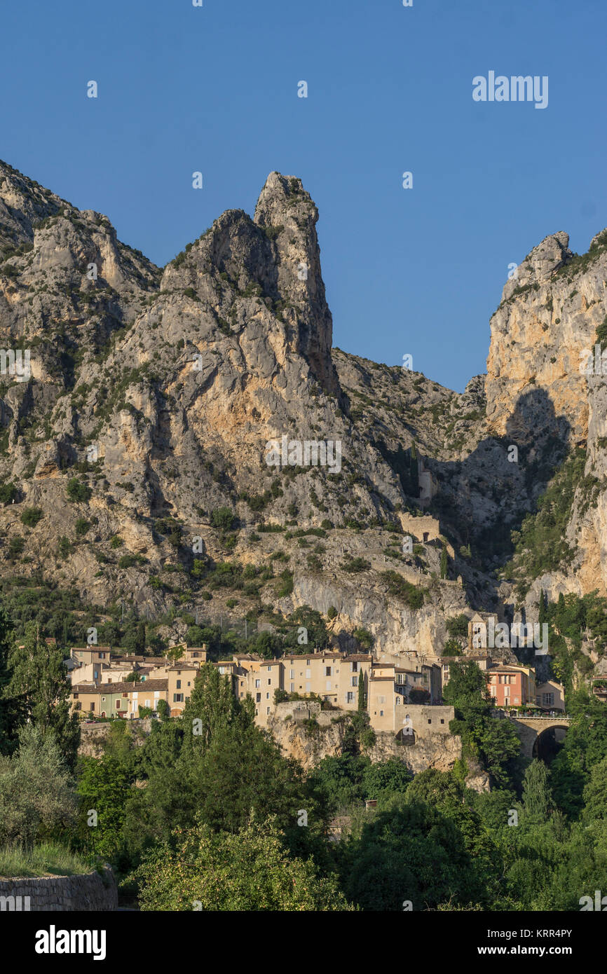 France, Alpes-de-Haute-Provence, Moustiers-Sainte-Marie, one of the Most Beautiful Villages of France - Stock Image