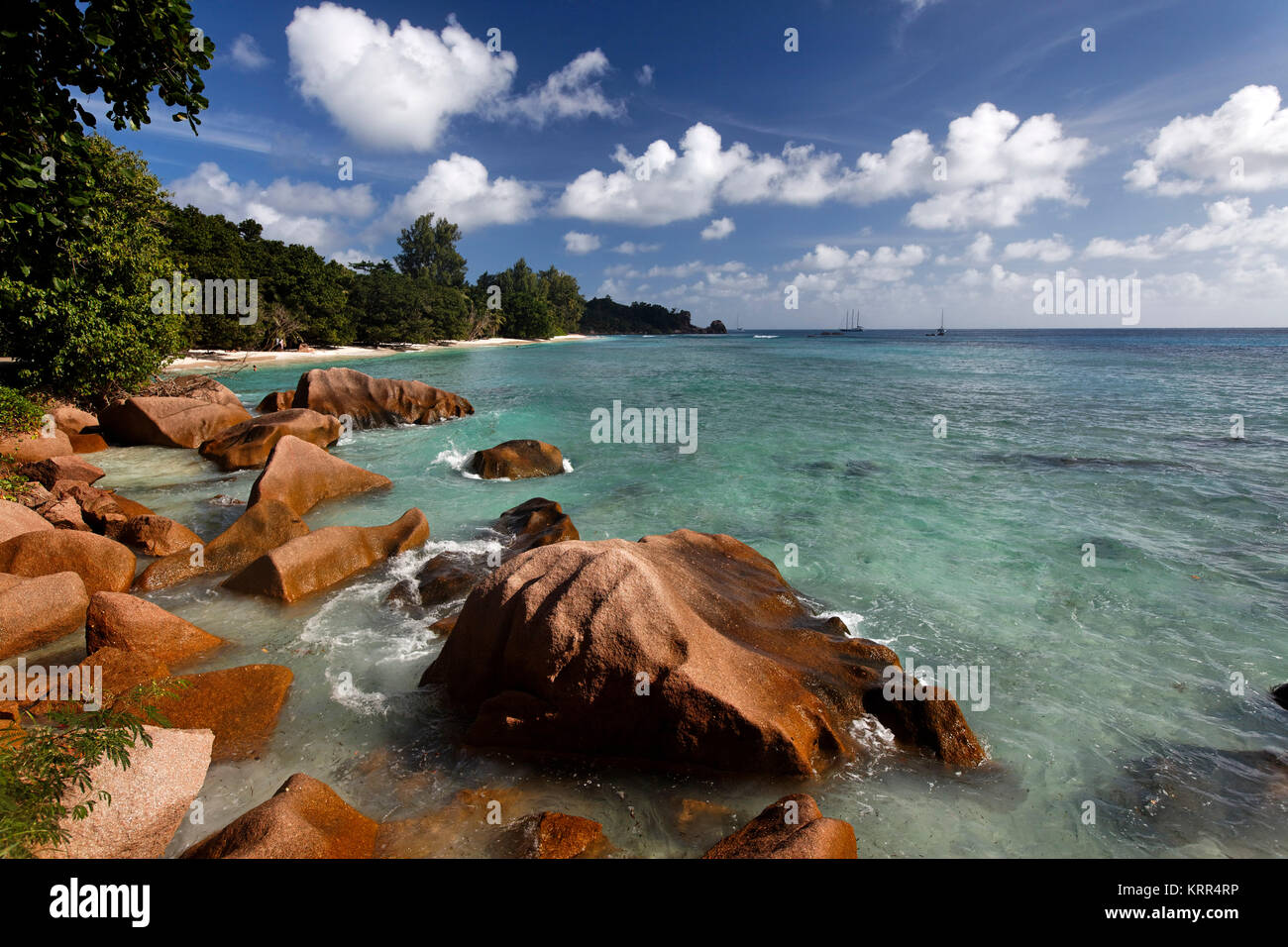 Granite boulders on the shore at Anse Severe ,La Digue,Seychelles, Indian Ocean, Africa - Stock Image