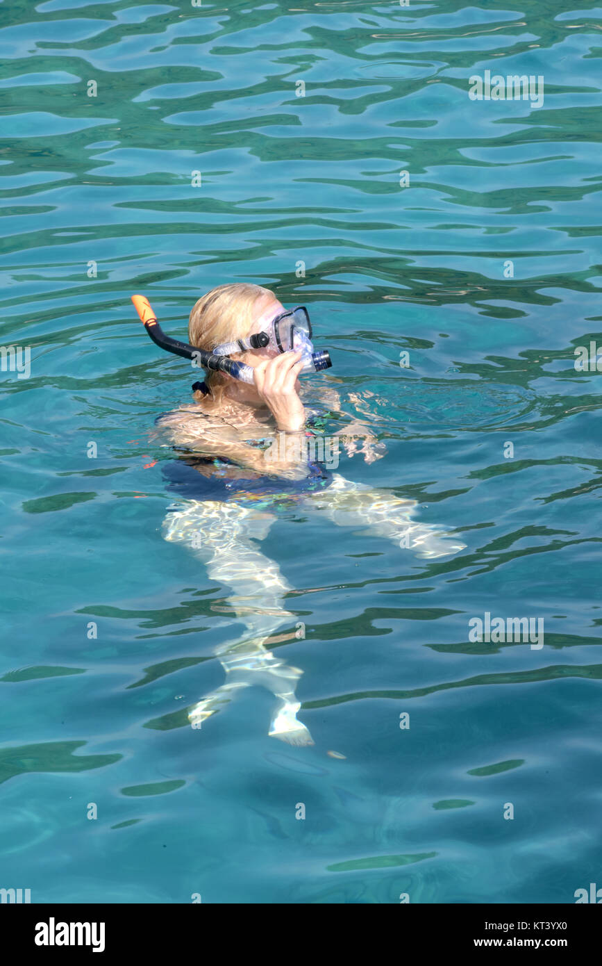 a young woman snorkelling in the sea in the Mediterranean sea in the summer while on holiday. Diving for shells - Stock Image
