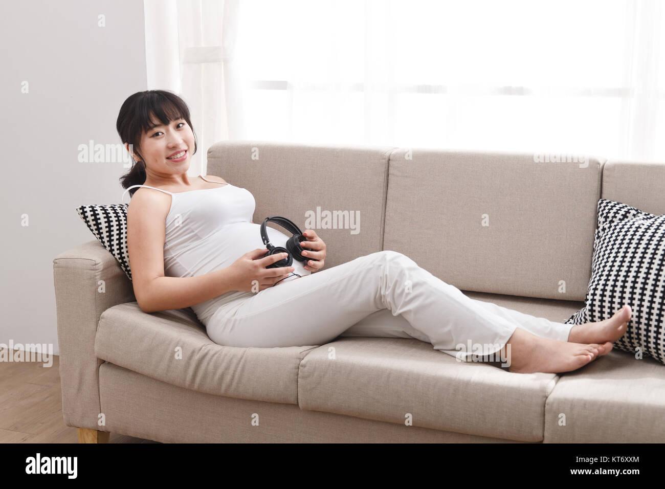 Happy pregnant women - Stock Image