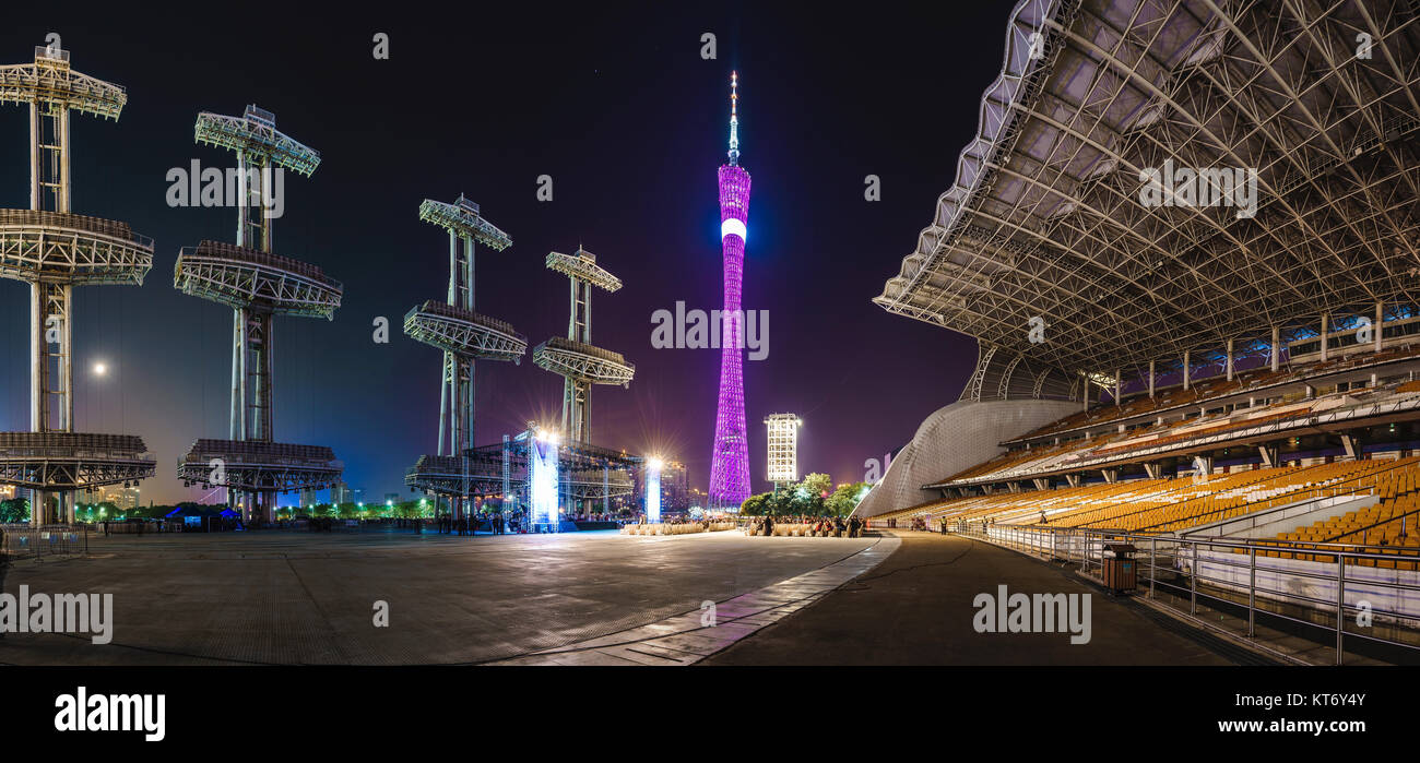 Night view of city architecture in Guangzhou,Guangdong Province,China - Stock Image