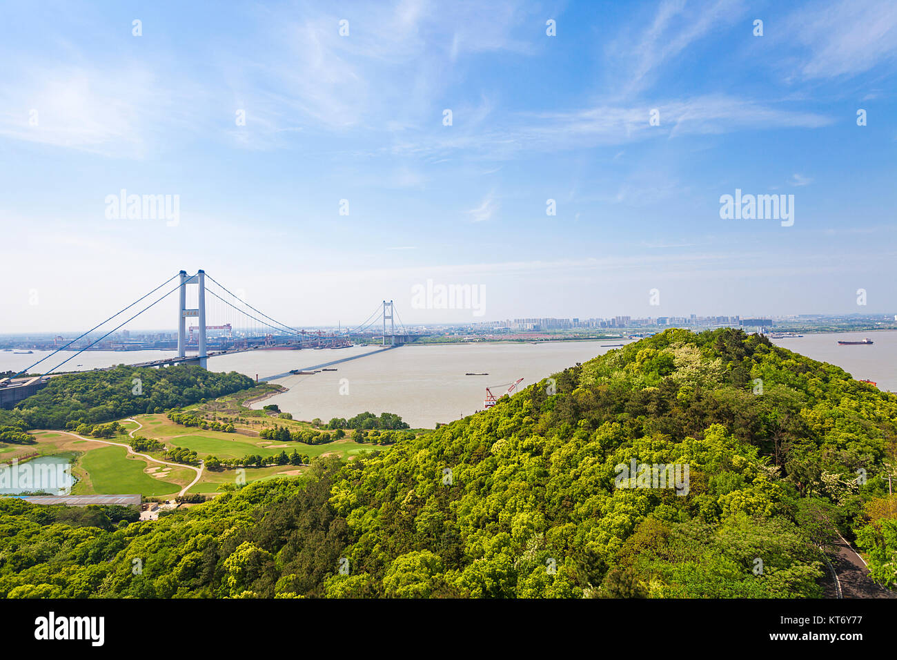 Jiangyin bridge of Wuxi City,Jiangsu Province,China - Stock Image