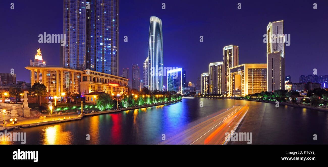 Night view of urban architecture of Tianjin City,China - Stock Image