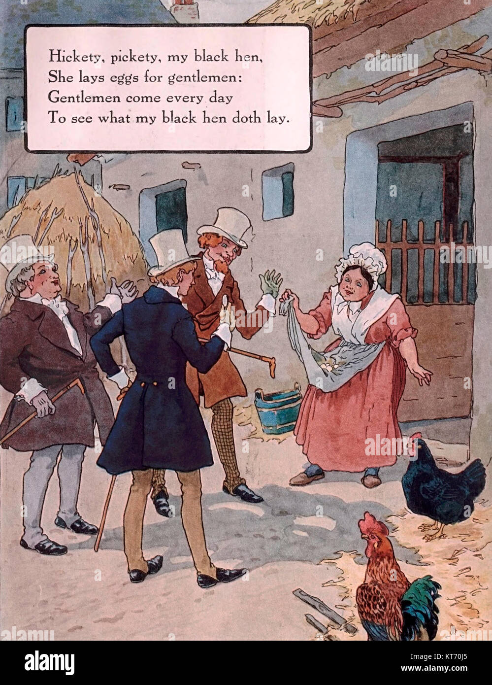 Hickety, Pickety, my black hen, she lays eggs for gentlemen - Mother Goose Nursery Rhyme - Stock Image