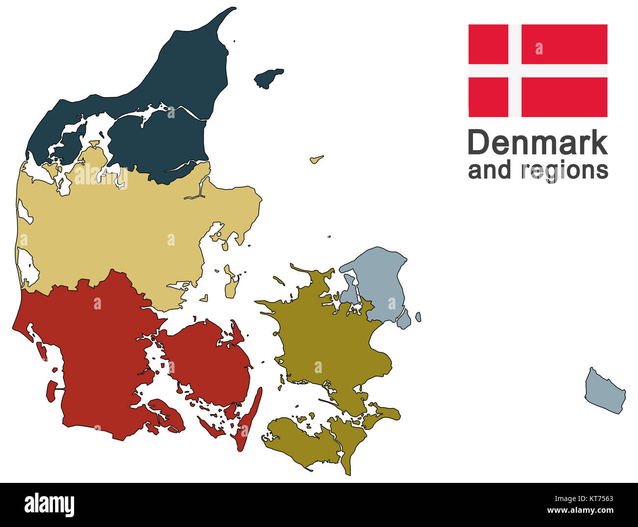 country denmark and regions - Stock Image