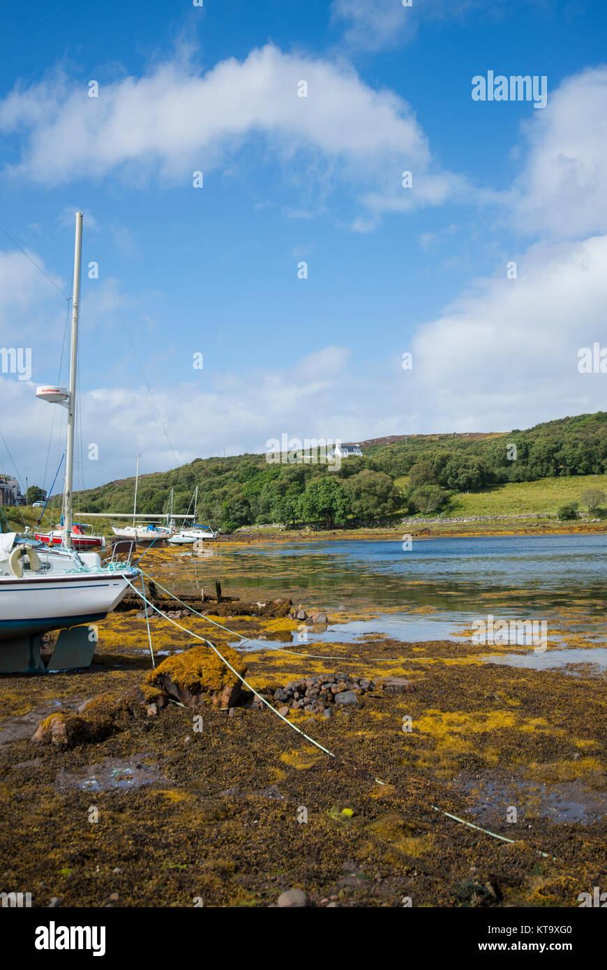 Badachro harbour near Gairloch in Wester Ross, Scotland - Stock Image