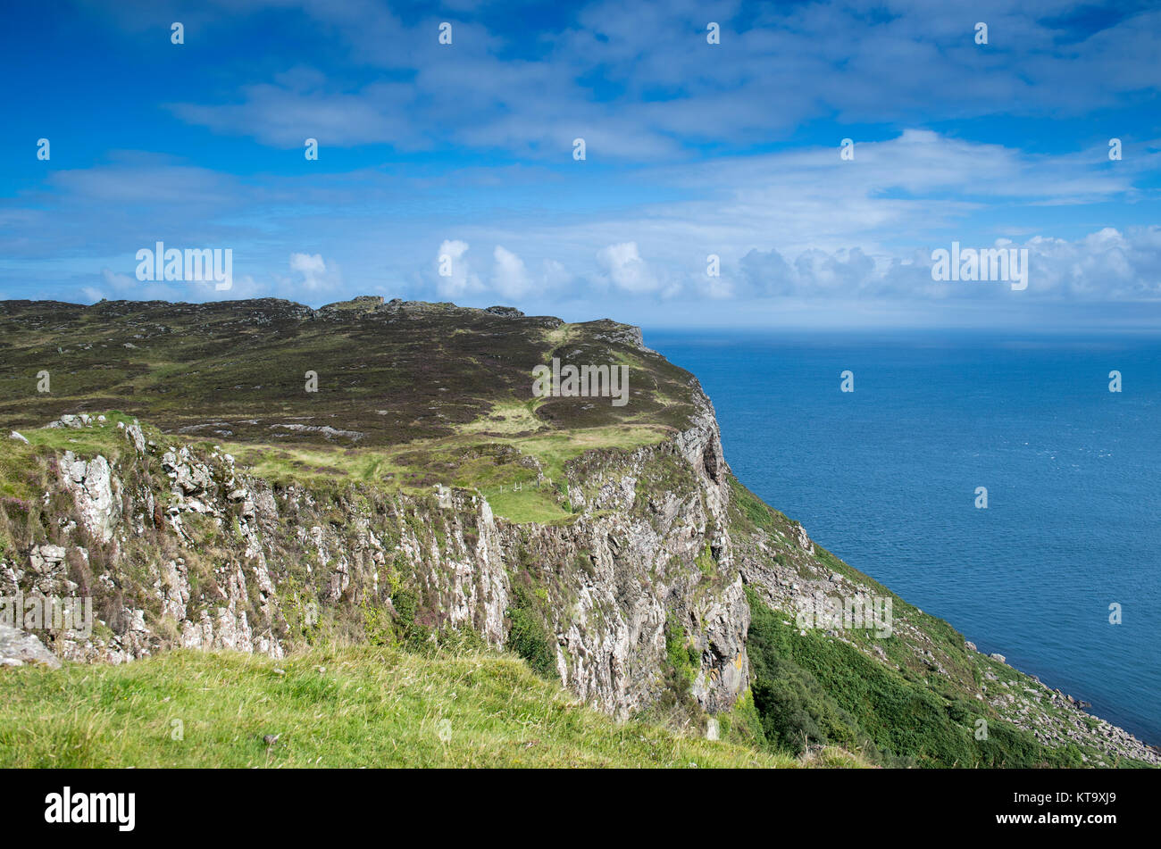 View from the top of Fair Head in County Antrim, Northern Ireland - Stock Image