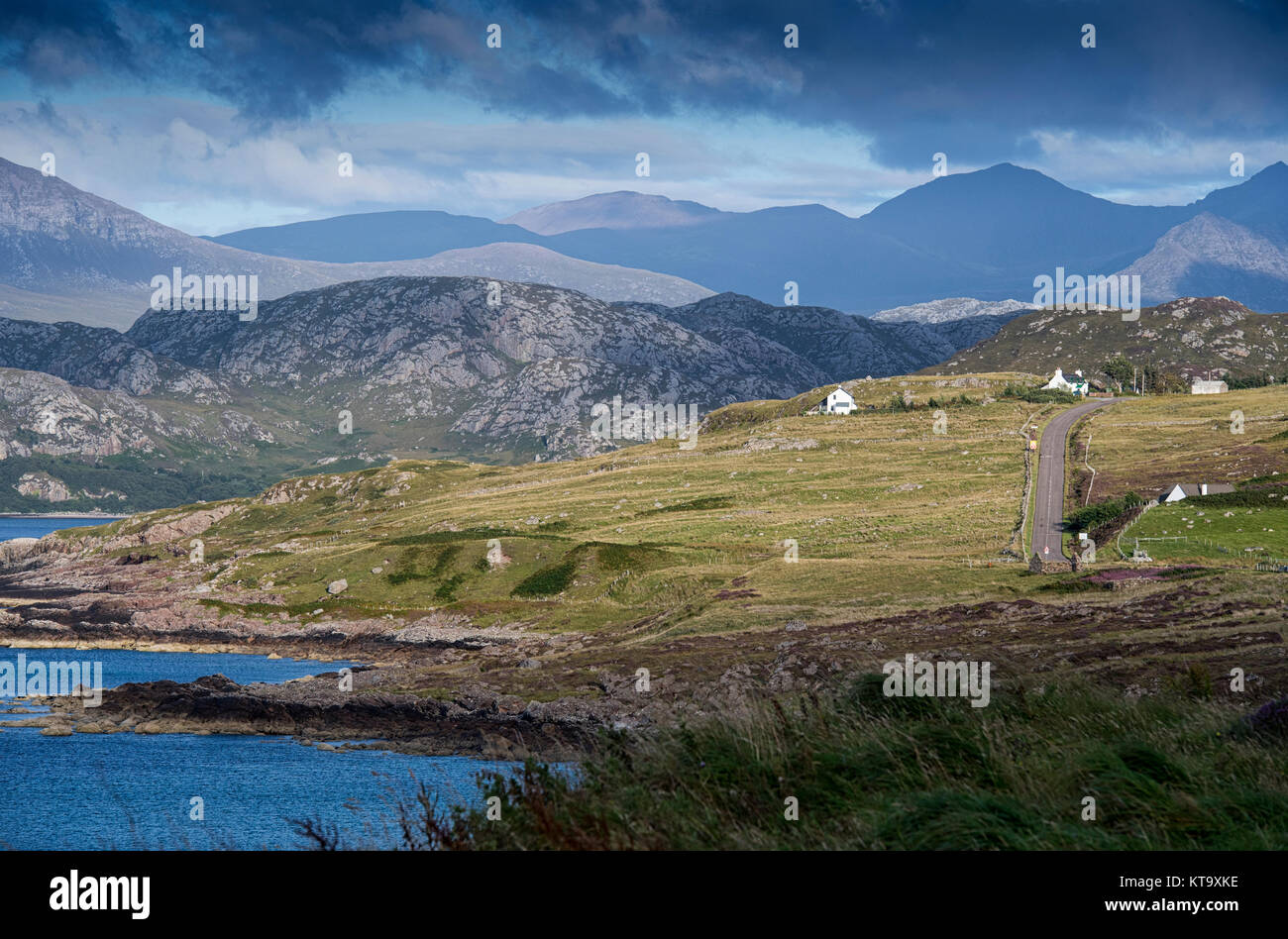 Section of the North Coast 500 scenic route near Laide in Wester Ross, Scotland - Stock Image