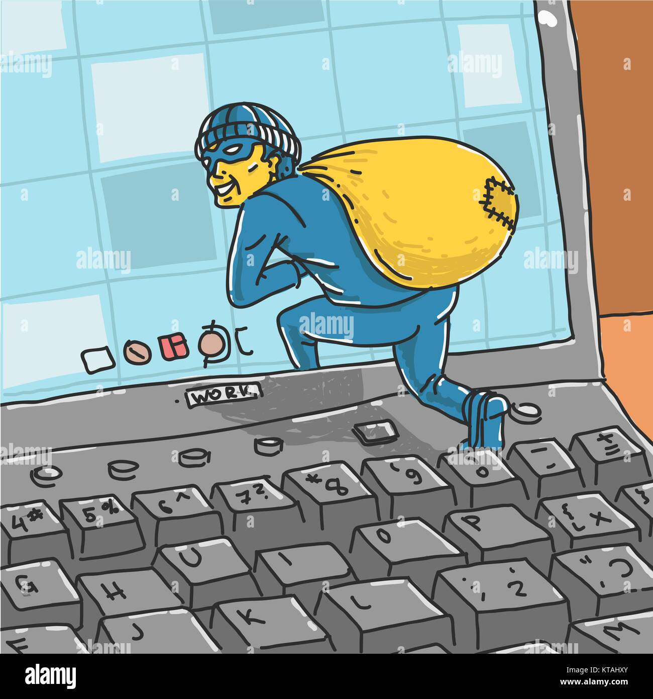 Hacker Steals Information From Computer - Stock Image