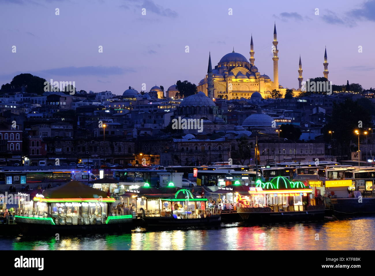Rustem Pasha Mosque in lights at dusk in Istanbul, Turkey - Stock Image