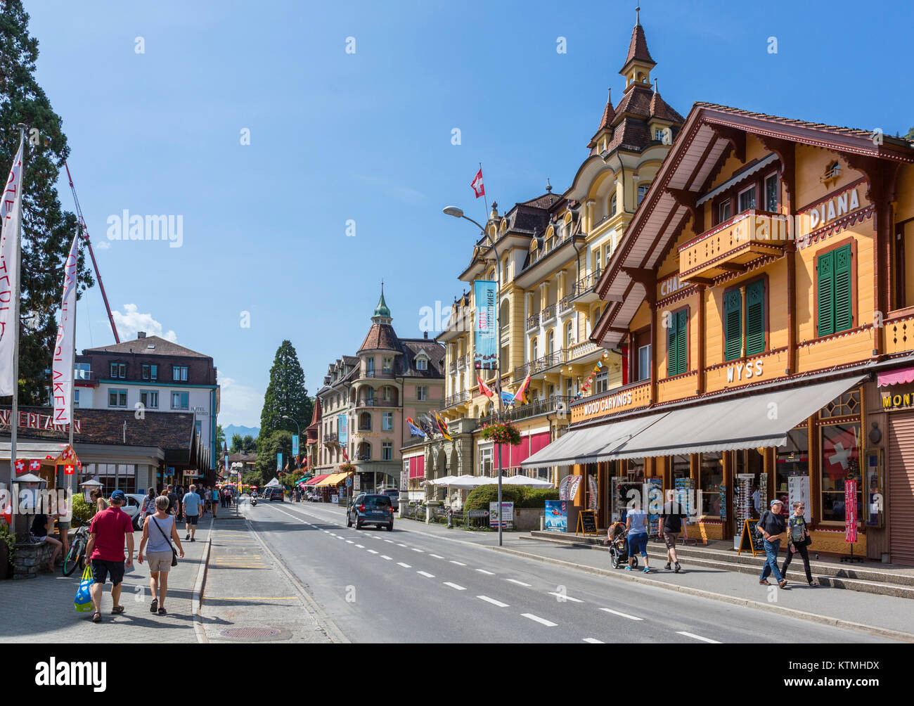 Höheweg, the main street in Interlaken, Switzerland - Stock Image
