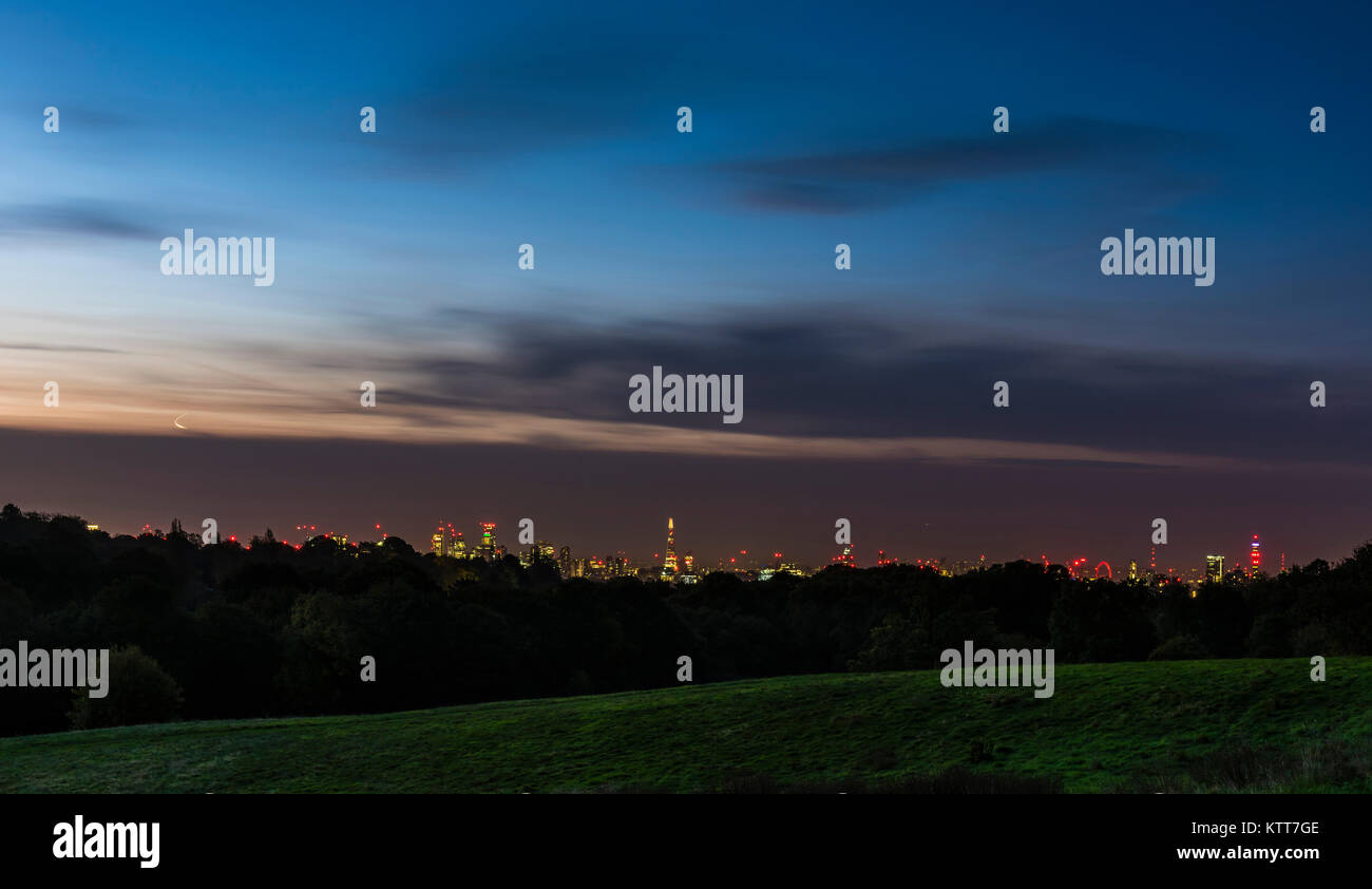 Early dawn over the London skyline from Hampstead Heath, London, UK - Stock Image