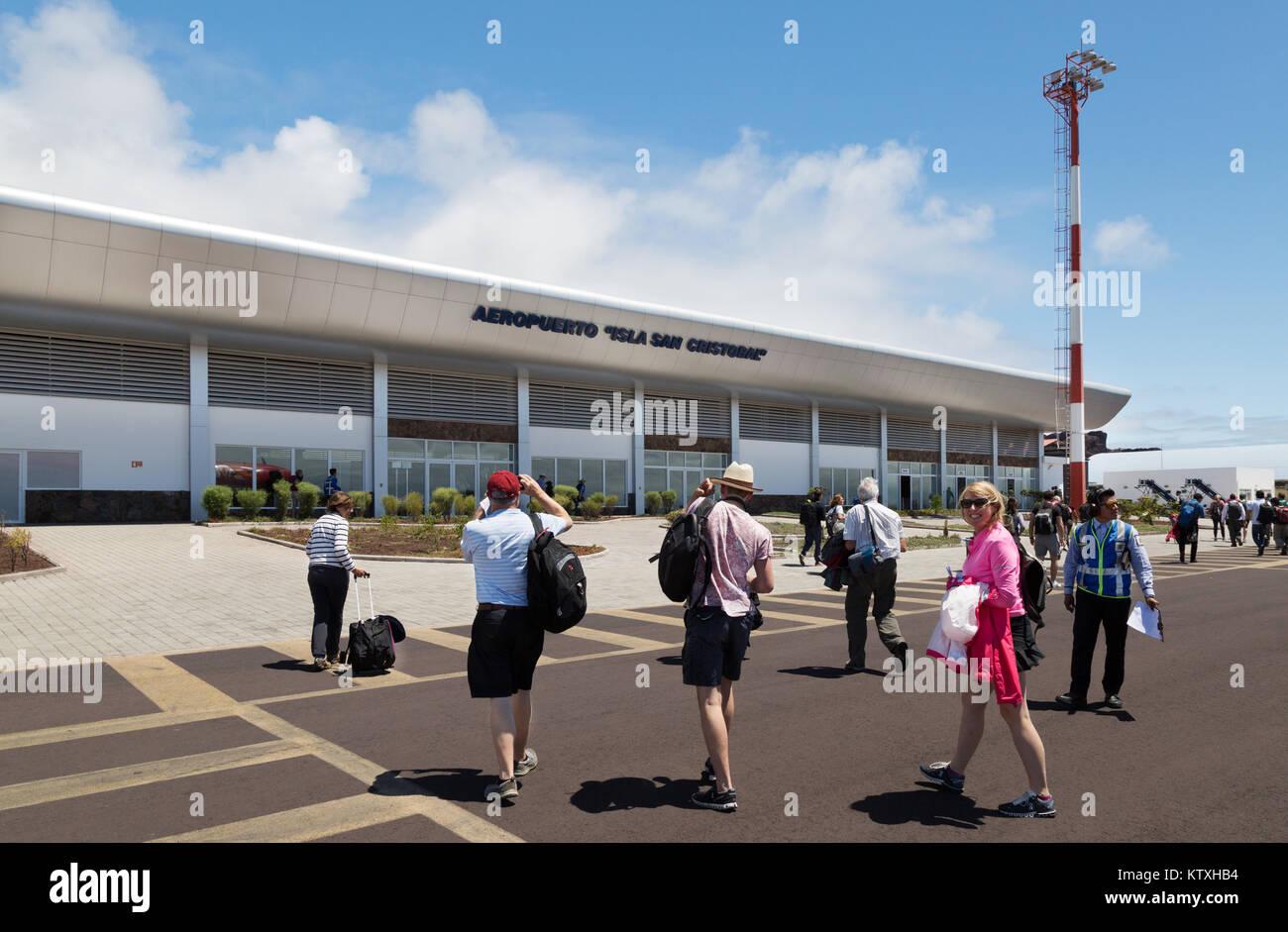 Passengers arriving at San Cristobal Airport, San Christobal Island, Galapagos Islands Ecuador South America - Stock Image