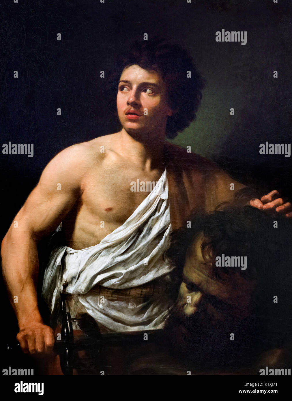 David with the Head of Goliath by Simon Vouet (1590-1641), oil on canvas, c.1620-22 - Stock Image