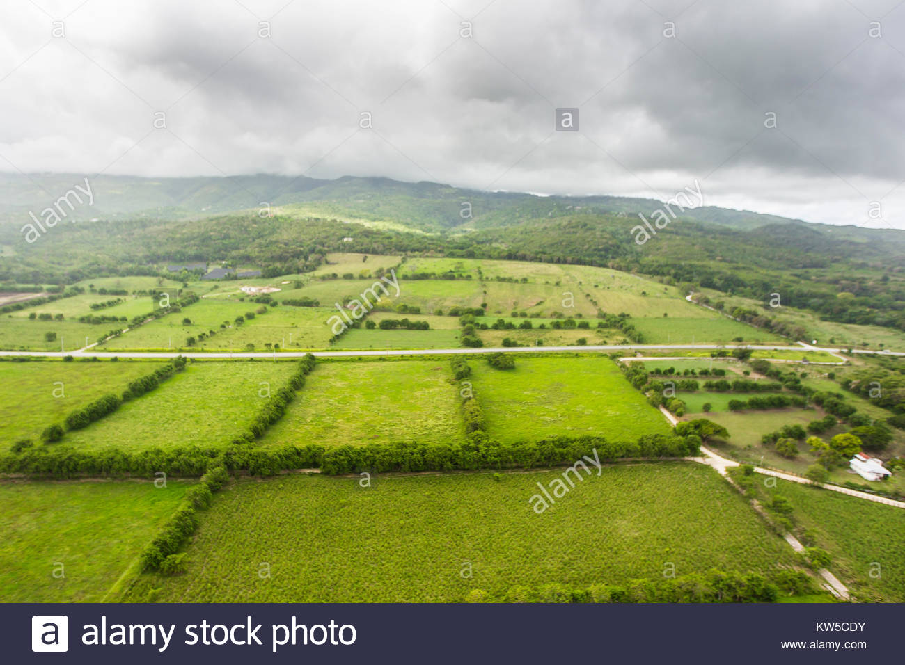 An aerial view of fertile farm lands in the heart Jamaica. - Stock Image