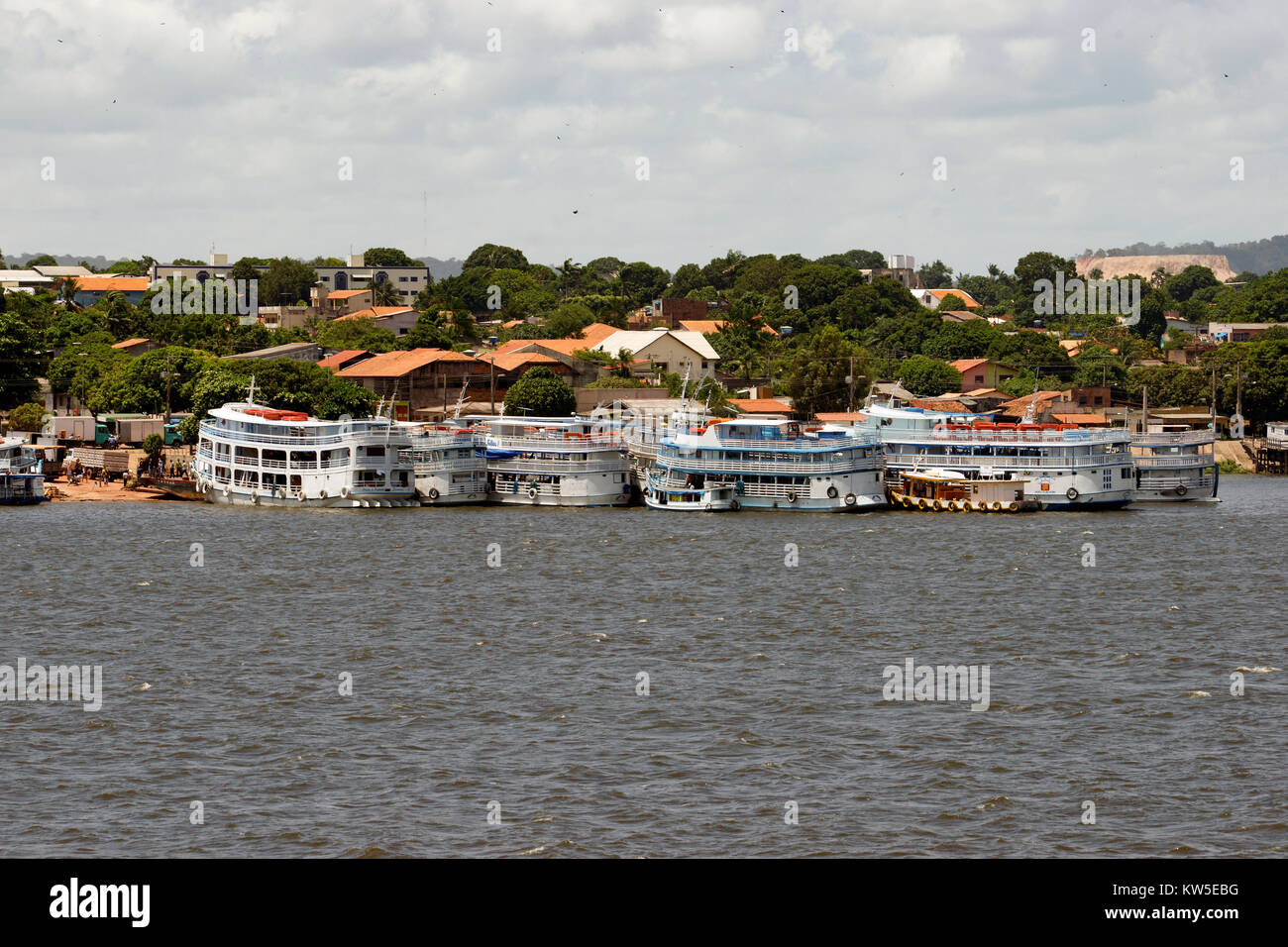 Amazon riverboats docked at Santarem, Brazil. - Stock Image